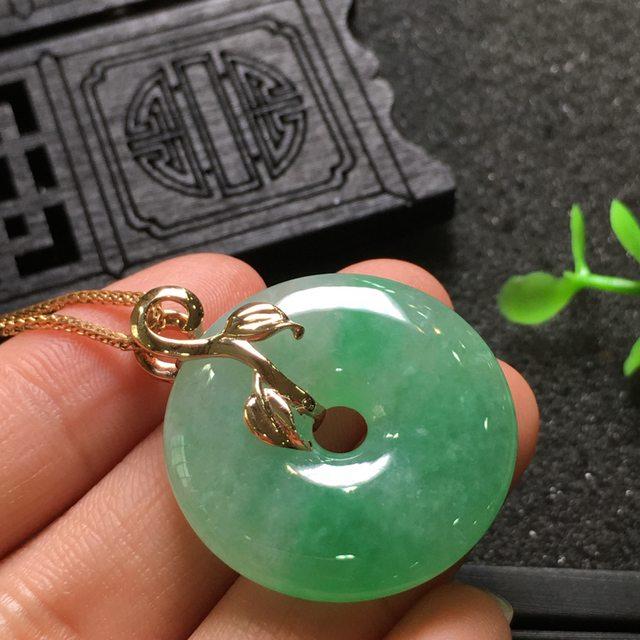 阳绿平安扣 翡翠挂件 尺寸32.9*27.3*5.5mm