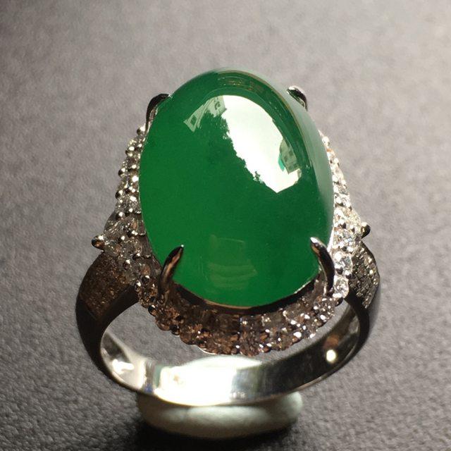 老坑冰种满绿蛋面翡翠戒指
