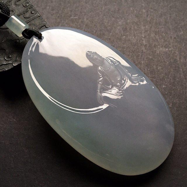 糯冰种淡椿带彩观音 翡翠挂件 尺寸: 78.5-47.5-11.5mm