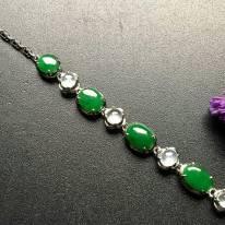 真金镶嵌满绿翡翠手链