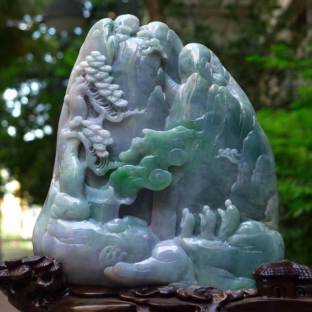 老坑蓝水飘绿 灵山问道山水翡翠摆件图3