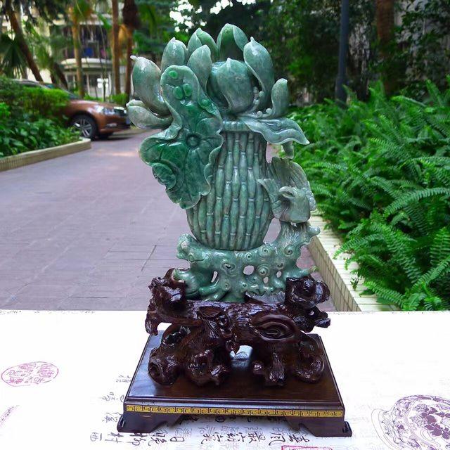 老坑糯种飘阳绿 翡翠A货 和美平安花瓶摆件