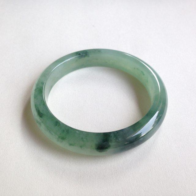 老坑冰种飘绿花翡翠手镯  缅甸天然翡翠平安镯 54寸正圈