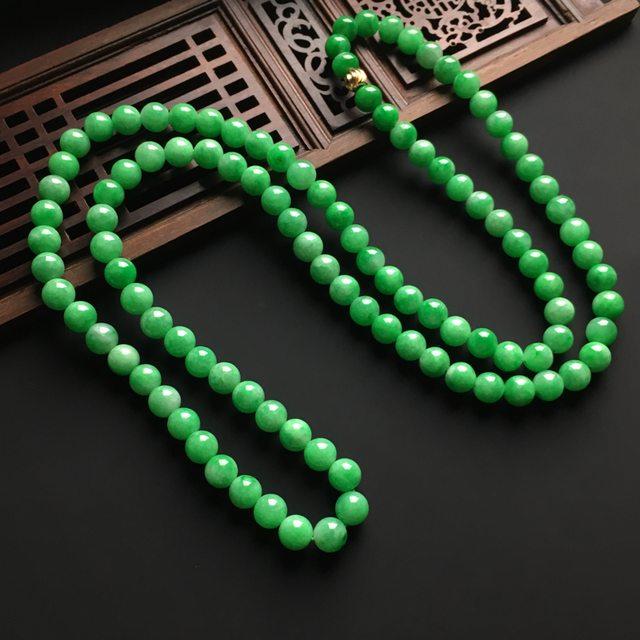 冰润阳绿天然翡翠项链 直径7毫米图2