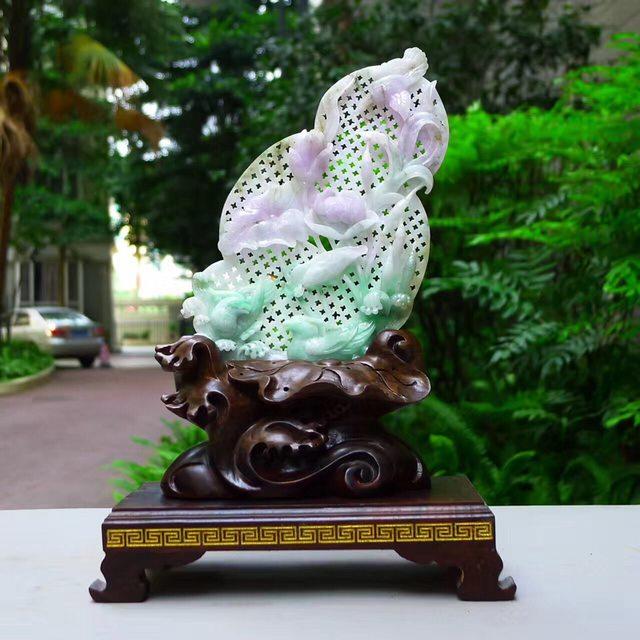 老坑水润春带彩 翡翠A货 成双成对和和美美荷花摆件