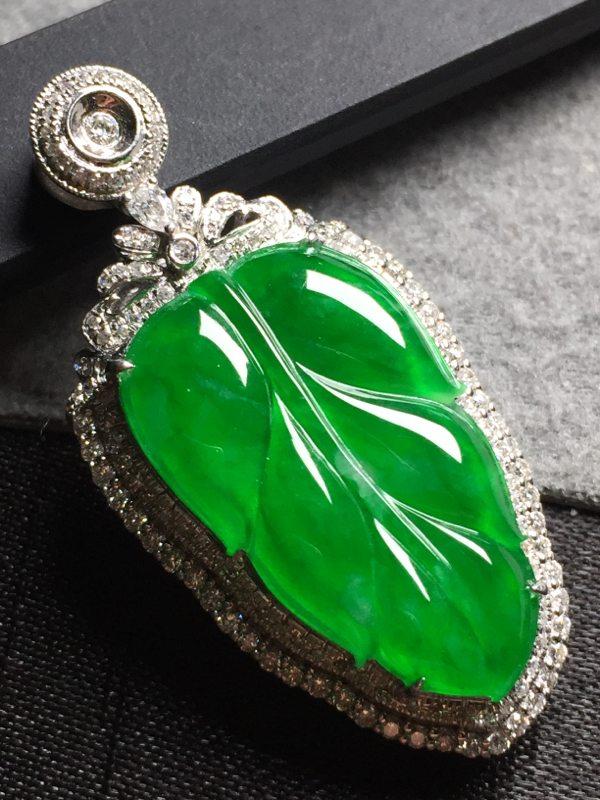 冰阳绿叶子 翡翠挂件 裸石尺寸24.2*14.5*3
