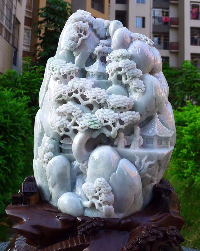 500.350.150寸精美春带彩翡翠山水摆件图0