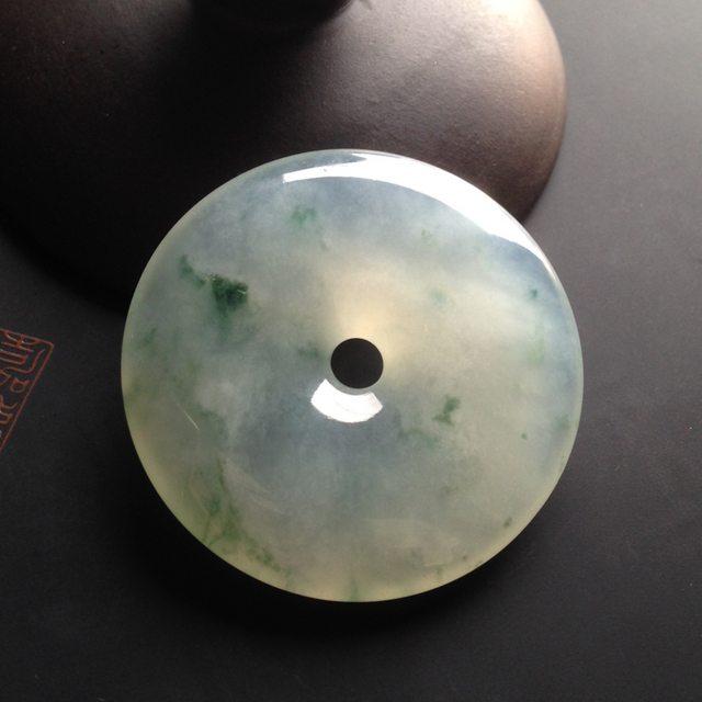 冰种飘花财豆 翡翠挂件 尺寸45-45-7mm