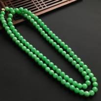 阳绿天然翡翠佛珠项链 直径7mm
