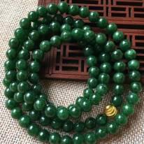 翡翠A货 冰糯种满绿圆珠翡翠项链
