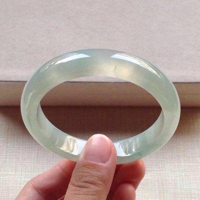 冰种晴水翡翠手镯  缅甸天然翡翠平安镯 56寸
