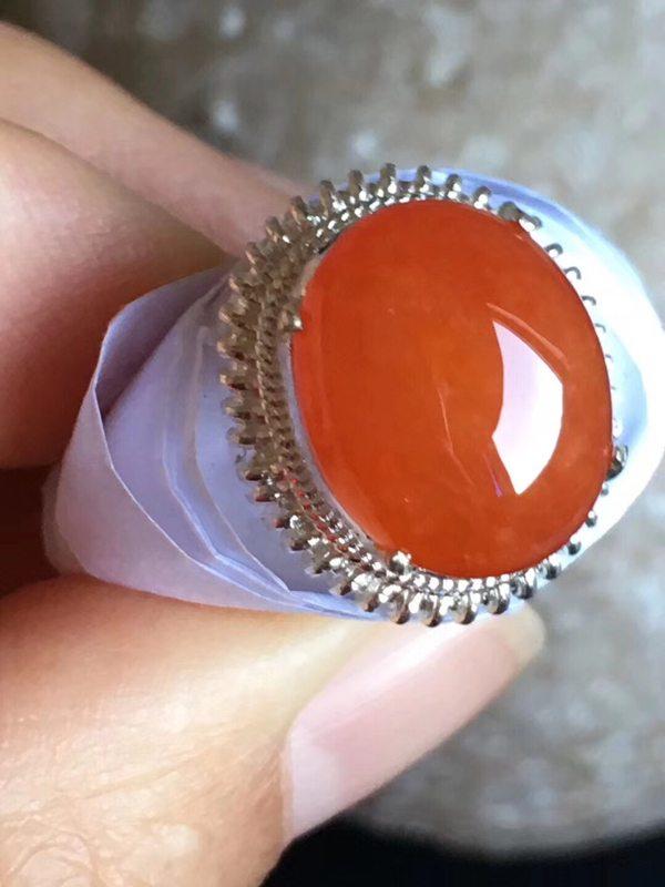 13.2-10.8-5.2寸老坑冰种 红翡 缅甸天然翡翠戒指