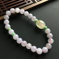 粉紫佛珠翡翠手链 佛珠直径7毫米