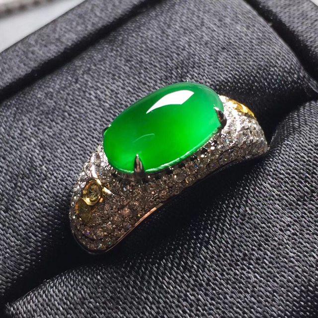 高冰满绿 缅甸天然翡翠戒指