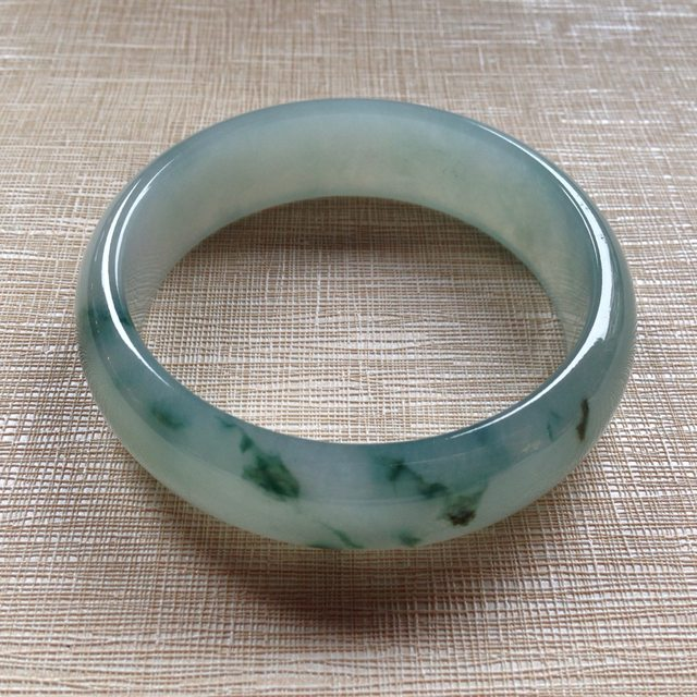 冰润蓝水飘花翡翠手镯 天然翡翠平安镯 60.1-17.8-7.5mm