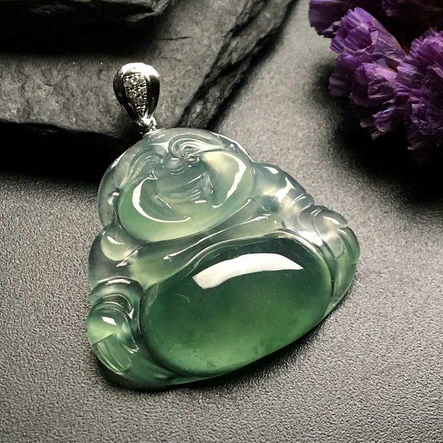 冰种晴绿 笑口常开翡翠吊坠 尺寸: 23-26-5mm