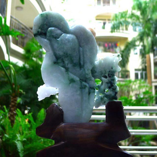 老坑冰糯种 人物山水翡翠摆件图8