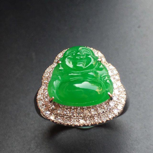 冰种阳绿佛公 缅甸天然翡翠戒指 18k白金