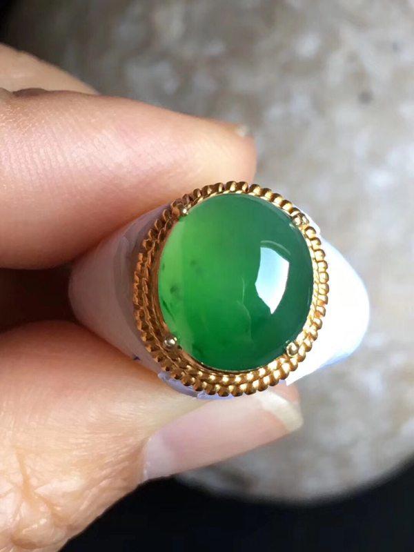 老坑冰种正阳绿色 缅甸天然翡翠戒指11.5-10-5mm