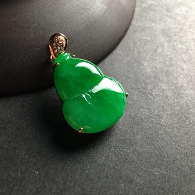 冰种满绿 葫芦翡翠吊坠 18K金镶嵌 尺寸24-19-7毫米