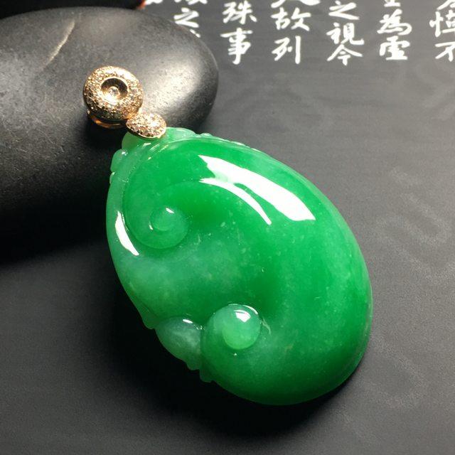 阳绿如意吊坠 尺寸41-28.3-12毫米 翠色阳绿