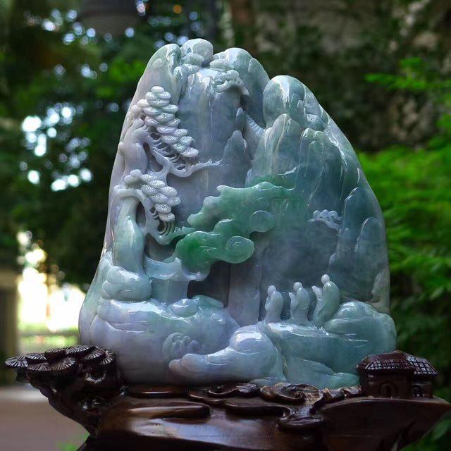 老坑蓝水飘绿 灵山问道山水翡翠摆件图1