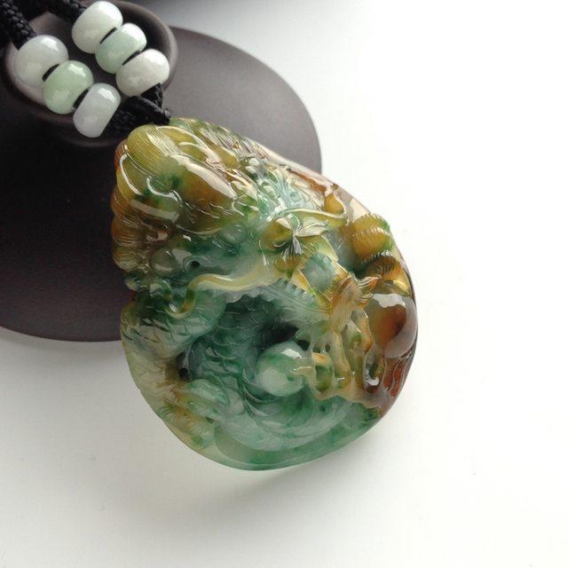 糯冰种黄加绿 龙牌翡翠挂件 尺寸54-42-20毫米