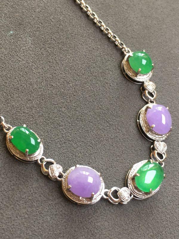 冰种紫加绿 天然翡翠手链图2