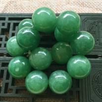 A货翡翠 冰糯种满绿圆珠翡翠手链