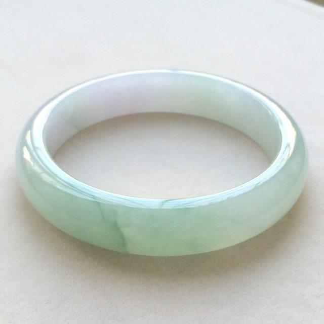 冰润飘花翡翠手镯 缅甸天然翡翠正圈手镯 尺寸:56.5寸