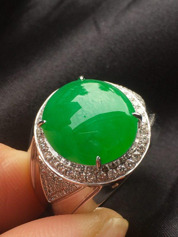 冰种满绿男款翡翠戒指