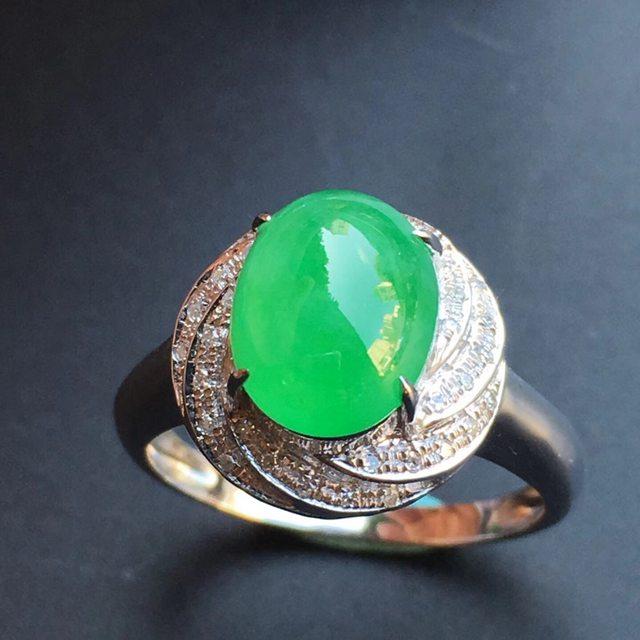 冰种阳绿花型 缅甸天然翡翠戒指大小9.6*7.9*5mm