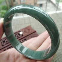 A货翡翠手镯 油青种满绿正装手镯60.3mm
