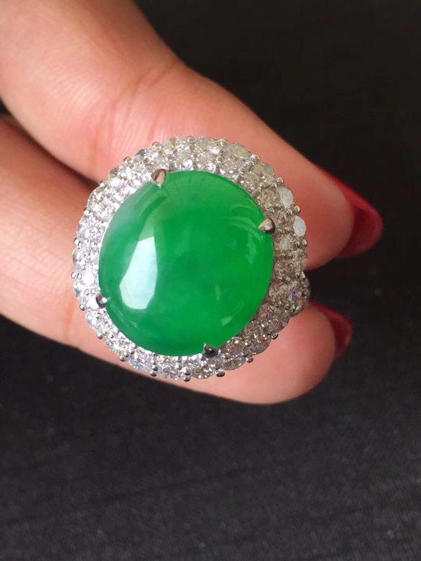 正阳绿冰底子 缅甸天然翡翠戒指