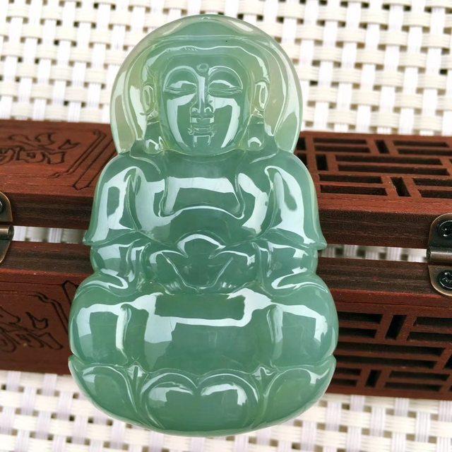 冰糯种甜绿全胶感观音菩萨 翡翠挂件 重量29.76g