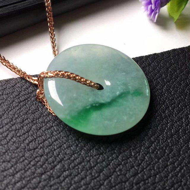 绿平安扣 翡翠挂件 尺寸21.9*4.1mm