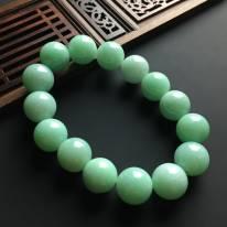 糯冰豆色天然翡翠佛珠手链 单颗佛珠直径14.5毫米