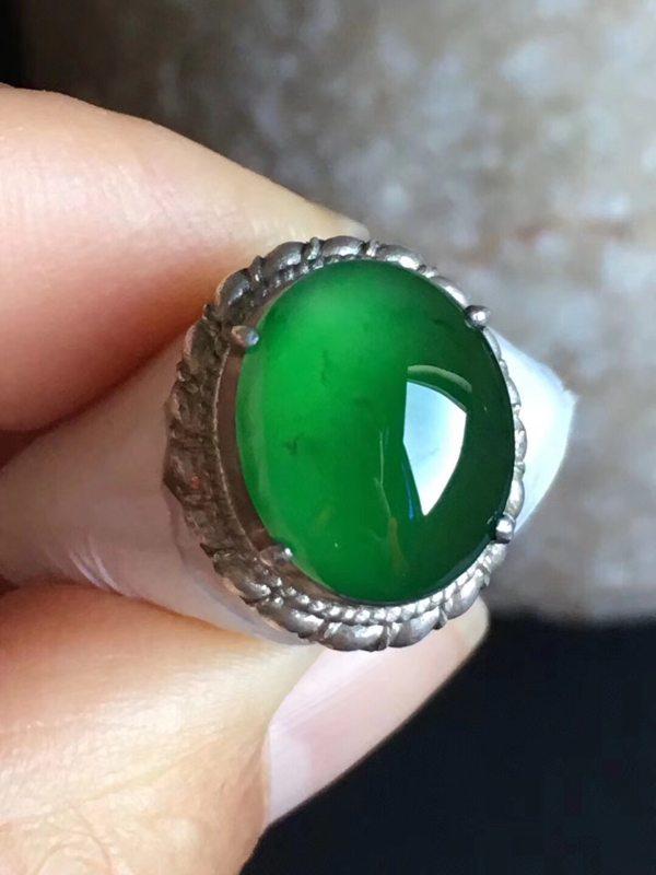 老坑冰种 帝王绿色天然缅甸翡翠戒指