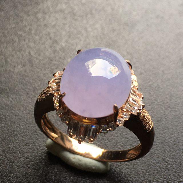 12.1*10.2*5寸紫罗兰蛋面翡翠戒指