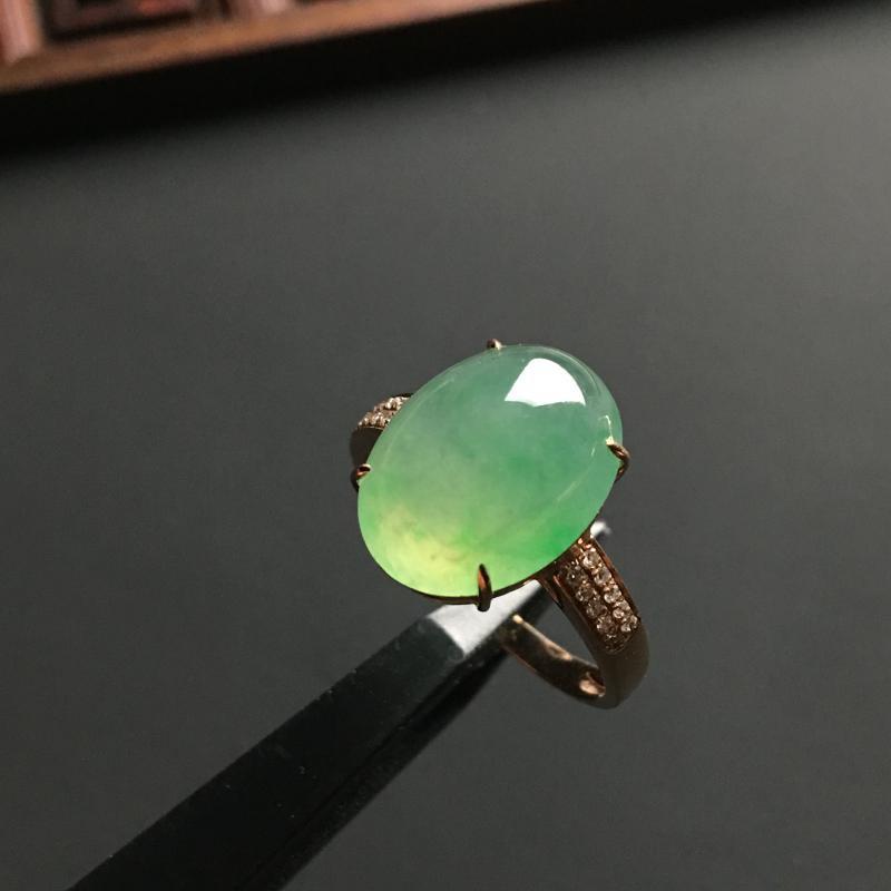冰种阳绿 天然翡翠18K金戒指