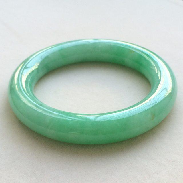 冰种满绿翡翠手镯  缅甸天然翡翠圆条手镯 尺寸:53.7寸