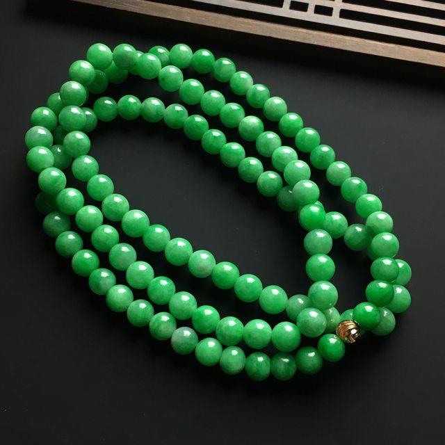 冰润阳绿天然翡翠项链 直径7毫米图8