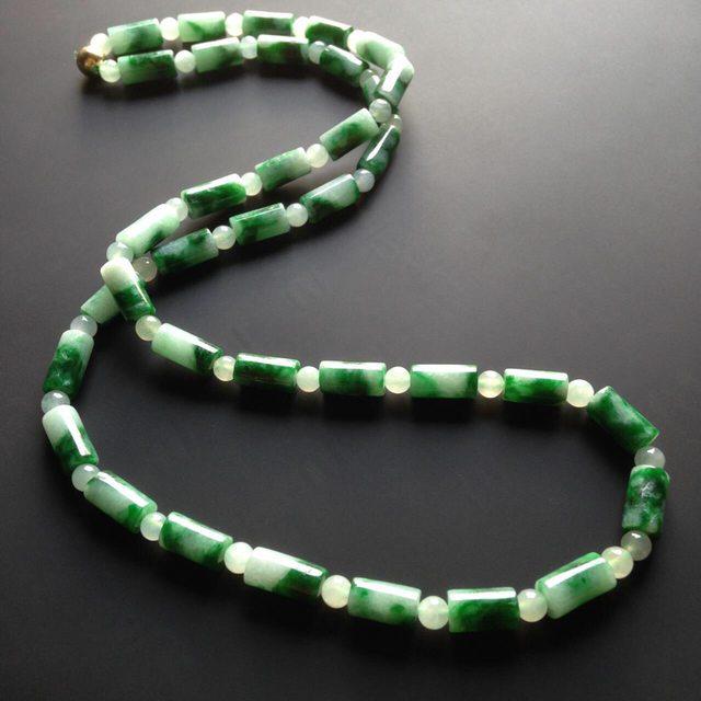 糯冰种深绿翡翠项链 36颗