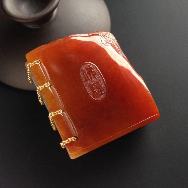 瑞丽工陈茂良作品 糯冰种红翡 佛经小摆件