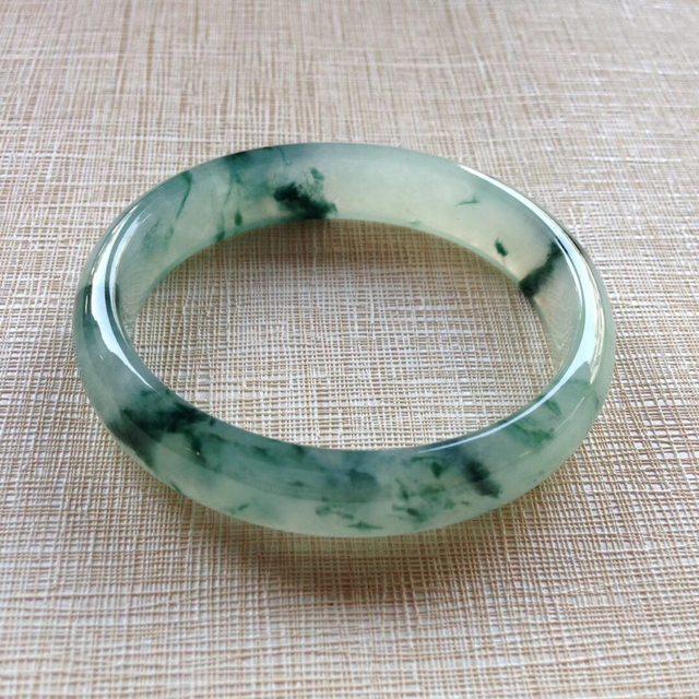 冰种飘花翡翠贵妃镯 56-50-12.7-6.2mm