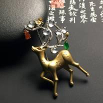 """玻璃种无色镶嵌""""福禄寿""""胸针"""