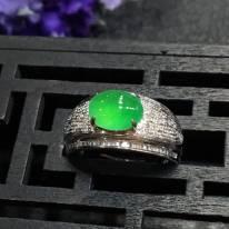 8.3*6.3*3.9mm冰满绿戒指 缅甸天然翡翠戒指