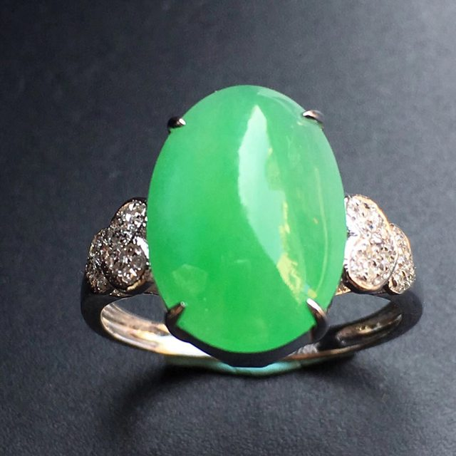 13.9*10.1*5mm冰种阳绿 缅甸天然翡翠戒指