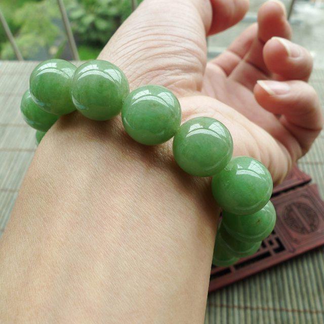 老种浅绿翡翠圆珠手链 珠大尺寸取一14.2mm