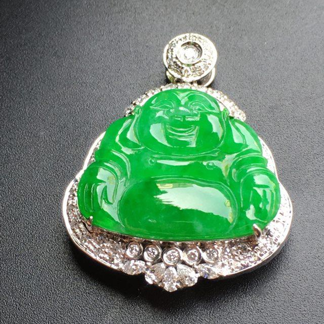 正陽綠佛 翡翠掛件 裸石尺寸:22.1*17.9*3.1